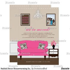Custom Stylish Decor Housewarming Invite created by InvitationBlvd. This invitation design is available on many paper types and is completely custom printed. Housewarming Gift Baskets, Housewarming Party, Invitation Design, Custom Invitations, Invite, Housewarming Invitation Cards, Congratulations Gift, House Gifts, Gifts Delivered