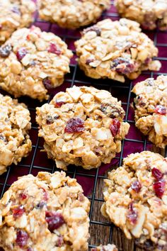 No Bake Gluten Free Peanut Butter Fruit & Nut Cookies (V, GF, DF): a one bowl recipe for no bake peanut butter cookies bursting with dried fruits and nuts! Fruit Cookie Recipe, Fruit Cookies, Cookie Recipes, Bar Cookies, Dairy Free Recipes, Raw Food Recipes, Baking Recipes, Snack Recipes, Snacks