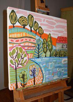 Bohemian Original Landscape Painting Large by karenfieldsgallery