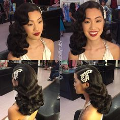 wedding hair waves 58 Ideas vintage wedding hairstyles for long hair with veil finger waves - Lombn Sites Hollywood Stars, Old Hollywood Hair, Wedding Hairstyles For Long Hair, Bride Hairstyles, Vintage Hairstyles, Black Prom Hairstyles, Romantic Hairstyles, Bridal Hair Updo, Wedding Hair And Makeup