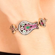 The Zerbap Ferzin Bracelet  with Zircon Emerald Ruby by Rosestyle, $65.00