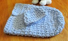 Blue Baby Cocoon Crochet Sleep Sack Baby Boy Gift Set