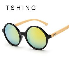 b4b7f371a413 TSHING Unique Bamboo Designer Mirror Round Sunglasses Women Men Vintage  Brand Sun Glasses For Male Female Original Eyewear