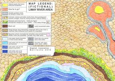 """Detail of map legend """"(fictional) Limay River Area"""", Markers and crayons on paper, Ingrid Roddick, 2010"""