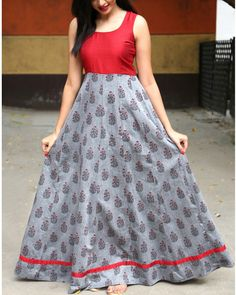 long gown dress This grey and red dress has floral block printing all over the garment. It can be paired with a denim jacket to make you a fashionista any season. Long Gown Dress, The Dress, Frock Dress, Formal Dress, Indian Designer Outfits, Designer Dresses, Designer Wear, Long Gown Design, Frock Models