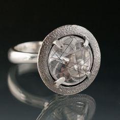 Tourmalinated Quartz UFO Halo Ring Sterling Silver Ring Quartz Gemstone Ring. $325.00, via Etsy.
