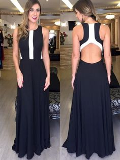 Charming Prom Dress,Sexy Sleeveless Black Prom Dress, Long