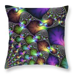"""Throw pillow - Abstract fractal art purple sienna green 14"""" x 14"""" All throw pillows are available in multiple sizes. (c) Matthias Hauser hauserfoto.com"""