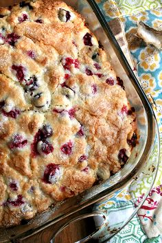 buttermilk cranberry breakfast cake. I made it with halved bing cherries and another time w blueberries - wonderful!