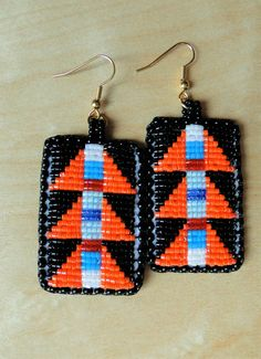 Beaded Earrings Geometric Lizard Spines in Orange by NativeCouture