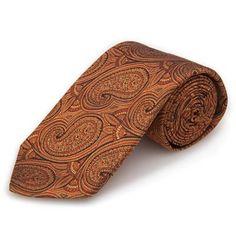 Robert Talbott Best Of Class Burnt Orange Paisley Woven Silk Tie