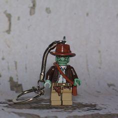 Zombie Indiana Jones LEGO key chain by boxhounds on Etsy, $10.00