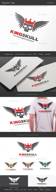 King Skull Logo — Vector EPS #rock #extreme • Available here → https://graphicriver.net/item/king-skull-logo/9533896?ref=pxcr