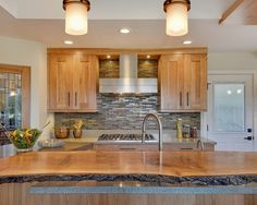 Book-matched Oak Slab Cabinets Design, Pictures, Remodel, Decor and Ideas - page 9