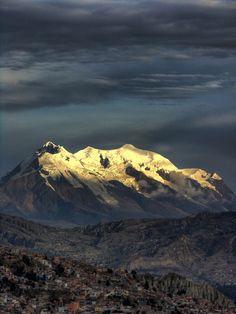 Illimani mountain overseeing La Paz, Bolivia