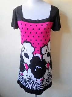 pink polka dots and floral shift dress by VintageHomage on Etsy, $15.00