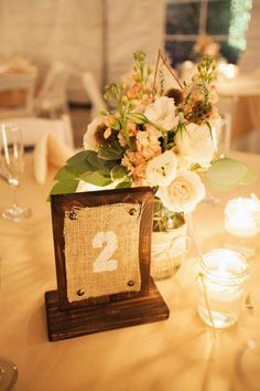 Burlap & Wood Table Numbers