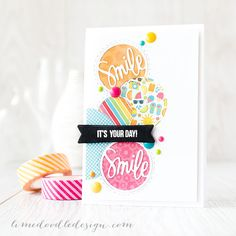 Debby Hughes - Lime Doodle Design http://limedoodledesign.com/2015/05/june-card-kit-…id-die-cutting/ #card #circle #bright #smile