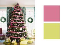 Use our #burtonandburton #taffeta ribbon to mix unexpected colors with traditional decorations this Christmas! #trees
