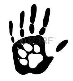 Illustration about Dog - man s best friend. Handprint human and animal paw print. Isolated on white background. Illustration of background, isolated, people - 48375427 Paw Print Drawing, Dog Paw Drawing, Dog Silhouette, Silhouette Vector, Dog Paws, Pet Dogs, Wolf Sleeve, Wolf Paw, Handprint Art