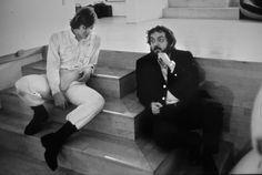 Stanley Kubrick on the set of 'A Clockwork Orange.'