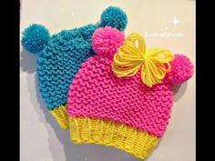 Loom knit baby hat with pom-pom animal ears . Quicker - easier - very cute.: Loom knit baby hat with pom-pom animal ears . Quicker - easier - very cute. Crochet Baby Hats Free Pattern, Baby Hats Knitting, Knitting Yarn, Knitted Hats, Loom Knitting Projects, Loom Knitting Patterns, Yarn Projects, Hat Patterns, Loom Crochet
