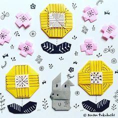 たんぽぽとうさぎちゃん  #origami  #illustration  #flower  #rabbit  #papercraft  #paperflower  #dandelion  #お花  #イラスト #折り紙  #おりがみ #うさぎ  #ペーパークラフト