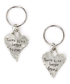 Another great find on #zulily! Silver Heart Personalized Key Chain Set #zulilyfinds
