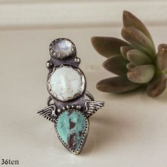 Angel Turquoise Ring with Moonstone in Sterling Silver, Boho Ring, Turquoise Ring Size 7