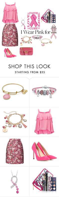 """I Wear Pink"" by christinemusal ❤ liked on Polyvore featuring Bling Jewelry, Loli Bijoux, Miss Selfridge, ADAM, Jimmy Choo, Gucci and breastcancerawareness"