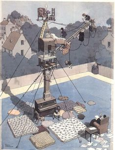 Title: Carrying out the Correspondence Course for Mountain Climbing in the House (1928) By William Heath Robinson