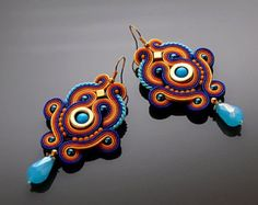Gray and beige Soutache earrings with Hematite. by ANBijou on Etsy