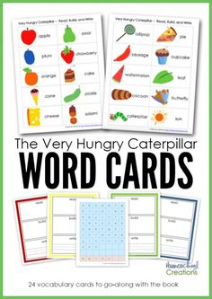 Very Hungry Caterpillar word cards from Homeschool Creations #ece #kbnmoms