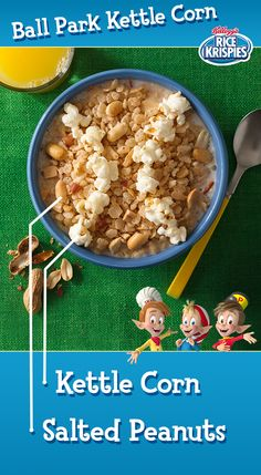 It's good in the stands... and even better in your bowl. It's easy to become a fan of these Ball Park Kettle Corn Kellogg's® Rice Krispies®, just add crunchy peanuts and kettle corn!