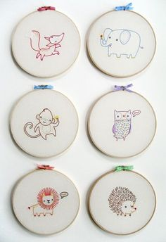 KIT embroidery lion wall art : cute embroidery patterns from penguinandfish Baby Embroidery, Embroidery Needles, Embroidery Hoop Art, Hand Embroidery Patterns, Cross Stitch Embroidery, Pdf Patterns, Embroidery Sampler, Tumblr Embroidery, Simple Embroidery Designs