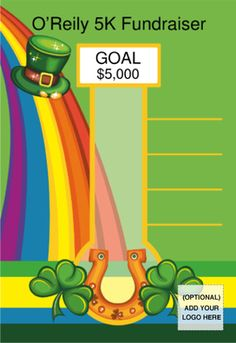 Have St. Patrick's Day fundraising to do? Here's a colorful poster size fundraising thermometer to track your donations and progress as you reach your goal. Add your logo and text to be pre-printed! Simply write in your goals to motivate your team. Have a happy St. Patrick's Day!