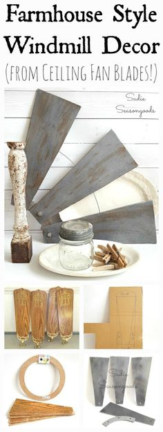 Outdated ceiling fan blades repurposed and upcycled into DIY farmhouse style salvaged windmill decor by Sadie Seasongoods / www.sadieseasongoods.com