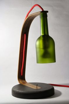 Upcycled Wine Bottle Desk Lamp in lights  with Wine Bottle Upcycled Recycled Light desk lamp