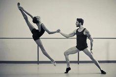 | black & white couple ballet photo. |