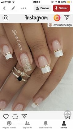 Wedding Nails-A Guide To The Perfect Manicure – NaiLovely Holiday Nail Designs, Holiday Nails, Christmas Nails, Nail Art Designs, Christmas Christmas, Nails Design, Design Design, Christmas Crafts, House Design