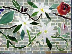 Mosaic Border Tiles in Floral Motif | Designer Glass Mosaics | Designer Glass Mosaics