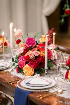 Bright florals, a Spanish-style palace, and a trio of cakes? Wedding Decorations, Table Decorations, Bright Flowers, Taper Candles, Ivory Wedding, Tablescapes, Wedding Flowers, Champagne, Centerpieces