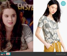 Bay's grey leaf print tee on Switched at Birth.  Outfit Details: http://wornontv.net/52645/ #SwitchedatBirth