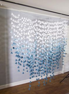 Super Ideas for simple wedding decorations backdrops lights Simple Wedding Decorations, Simple Weddings, Paper Lantern Decorations, Paper Flower Garlands, Paper Flowers, Origami Flowers, Teal Ombre, Paper Backdrop, Paper Cones