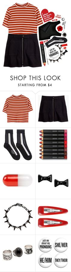 """""""Red + Black + White"""" by aine-says-hi ❤ liked on Polyvore featuring Madewell, Issey Miyake, Bobbi Brown Cosmetics, Jonathan Adler, Marc by Marc Jacobs and Forever 21"""