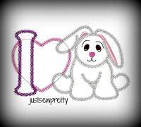 I Heart Bunny Applique