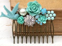 Blue Turquoise Hair Comb - Vintage Wedding Collage Hair Comb, Maid Of Honor, Bridesmaids Gifts. Bridal Hair- Something Old Someting Blue. $59.00, via Etsy.