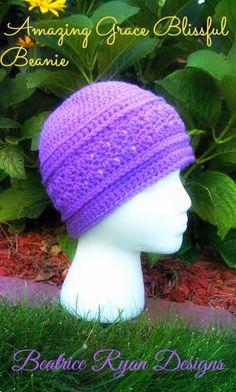 Ravelry: Amazing Grace Blissful Beanie pattern by Beatrice Ryan Designs Crochet Adult Hat, Crochet Beanie Pattern, Knit Or Crochet, Crochet Scarves, Crochet Crafts, Crochet Projects, Free Crochet, Hat Patterns, Crochet Hearts