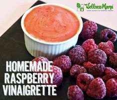 This real food raspberry vinaigrette recipe combines raspberries, olive oil, vinegar or kombucha and optional raw honey for a simple salad topping.