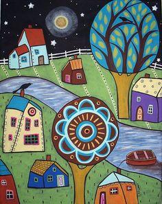 love the medallion tree! Trippy Drawings, Art Drawings, Karla Gerard, Cottage Art, Sewing Art, Naive Art, Whimsical Art, Pretty Art, Kitsch